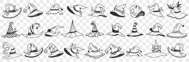 Insieme di doodle di stili di cappuccio di gnomo