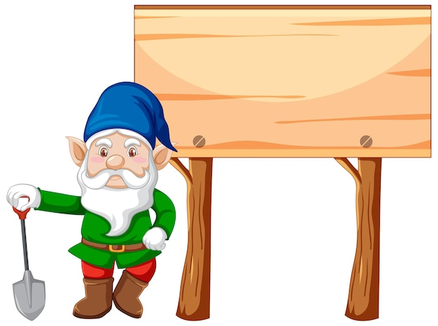 Gnomo che tiene la pala con stile cartone animato vuoto cartello in legno