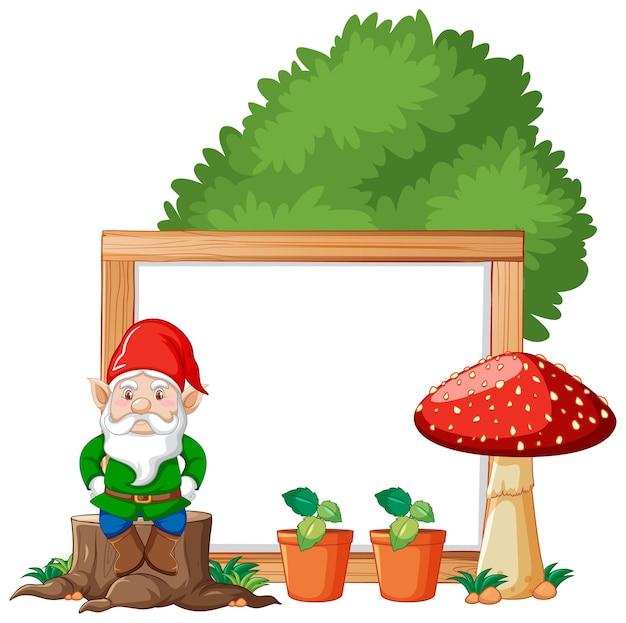 Gnomo che si siede sul ceppo e sul fungo con stile cartone animato bandiera in bianco su bianco