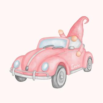 Gnomo in stile acquerello auto d'epoca.