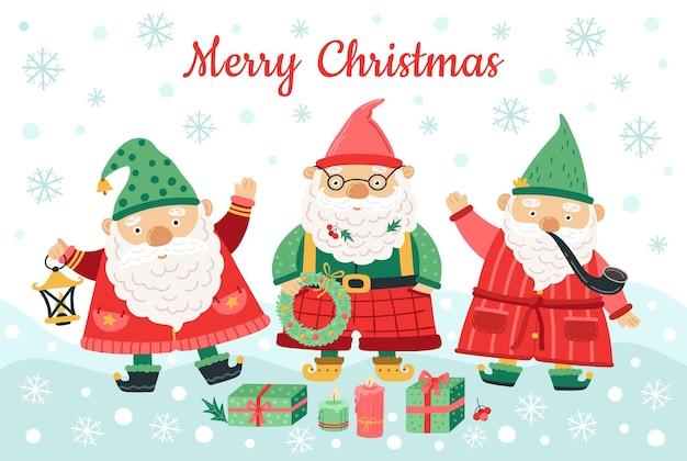 Personaggi natalizi di gnomi. nani divertenti, uomini sorridenti su sfondo di neve. fondo di stagione nordica, illustrazione di vettore di auguri di inverno. gnomo stagionale con decorazione per auguri
