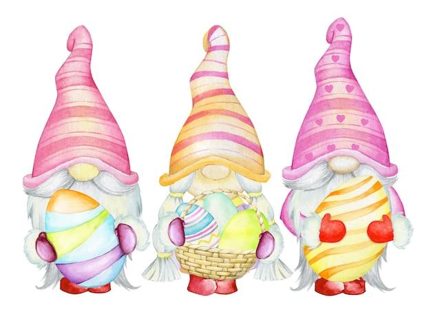 Illustrazione di gnomi e uova di pasqua