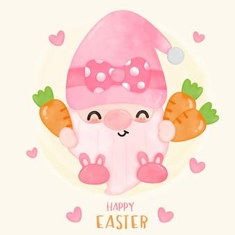 Gnomi pasqua acquerello che tiene carota simpatico cartone animato personaggio da favola in stile kawaii