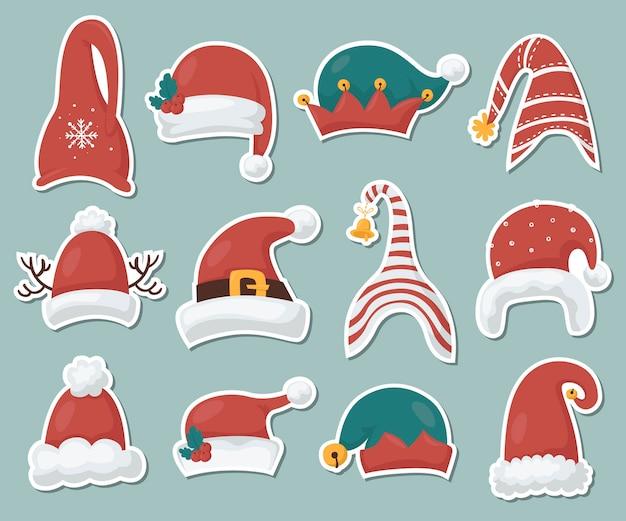 Collezione di adesivi cappelli gnomi. illustrazione per biglietti di auguri, inviti di natale e scrapbooking
