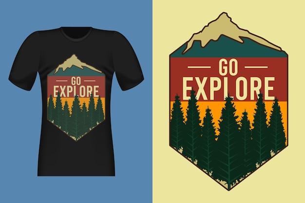 Vai a esplorare il design di t-shirt retrò vintage in stile disegnato a mano