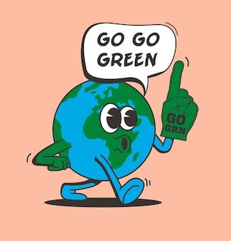 Vai al concetto di verde con il personaggio del pianeta terra vintage comico a piedi isolato su sfondo rosa eco attivismo o concetto di giornata della terra per disegno di adesivo o poster o volantino illustrazione vettoriale