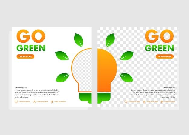 Vai al modello di post sui social media verde. post sui social media per il concetto di design della campagna go green
