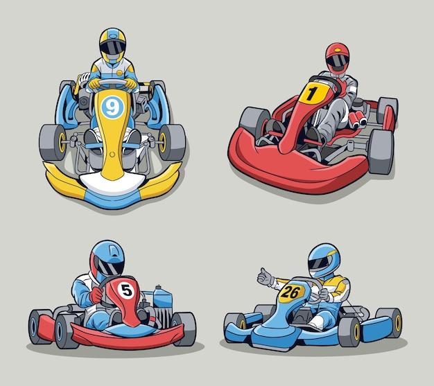 Collezione vettoriale di go kart design