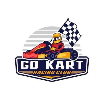 Go kart racing logo distintivo