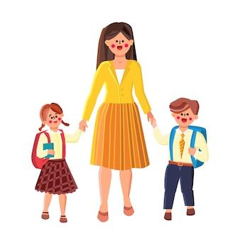 Vai a scuola, donna piombo allievo ragazzo e ragazza vettore. madre che conduce figlio e figlia a scuola. caratteri scolaro e studentessa che vanno a lezione insieme piatto fumetto illustrazione