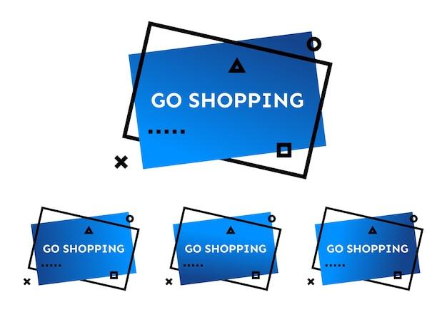 Andare a fare shopping. set di quattro striscioni alla moda geometrici blu. moderna forma sfumata con testo promozionale. illustrazione vettoriale.