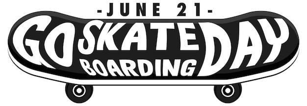 Go skateboarding day carattere sul banner di skateboard isolato