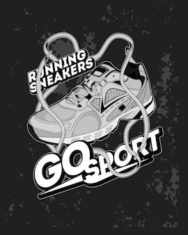 Vai a fare sport, illustrazione di scarpe da ginnastica