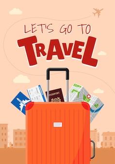 Vai concetto di manifesto di viaggio vacanza pubblicità viaggio. valigia bagaglio con carta d'imbarco biglietto aereo mappa e passaporto. diversi elementi turistici e banner di illustrazione eps percorso aereo