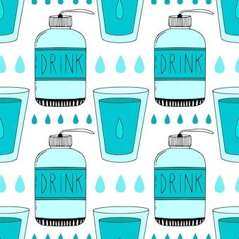 Per andare modello vettoriale di bottiglie d'acqua, gocce e bicchieri. sfondo web o design del packaging.