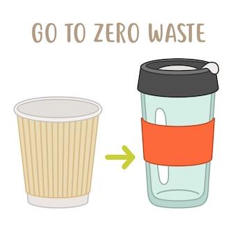 Vai alla tazza usa e getta zero rifiuti vs tazza riutilizzabile Vettore Premium
