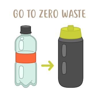 Vai a zero rifiuti: bottiglia di plastica vs bottiglia riutilizzabile. ecologico Vettore Premium