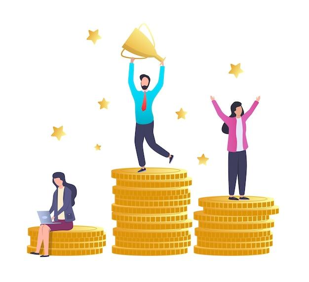 Raggiungimento dell'obiettivo successo finanziario il miglior dipendente in cima al podio del mucchio di monete con la coppa del trofeo vect...