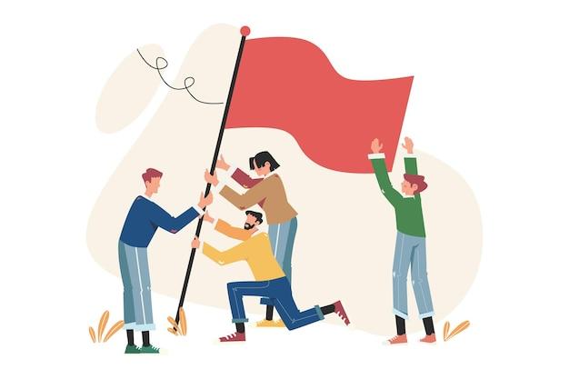 Bandiera di raggiungimento degli obiettivi come simbolo di successo
