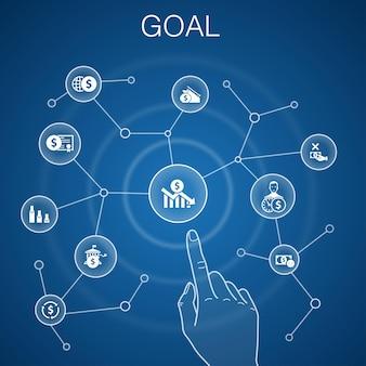 Concetto di obiettivo, sfondo blu. icone di destinazione, desiderio, compito, impostazione dell'obiettivo