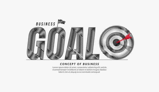 Obiettivo scarabocchio testo design sfondo business target lettering tipografia concept