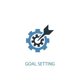 Concetto di impostazione degli obiettivi 2 icona colorata. illustrazione semplice dell'elemento blu. disegno di simbolo del concetto di impostazione degli obiettivi. può essere utilizzato per ui/ux mobile e web