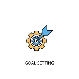 Concetto di impostazione degli obiettivi 2 icona linea colorata. illustrazione semplice dell'elemento giallo e blu. disegno del simbolo del contorno del concetto di definizione degli obiettivi