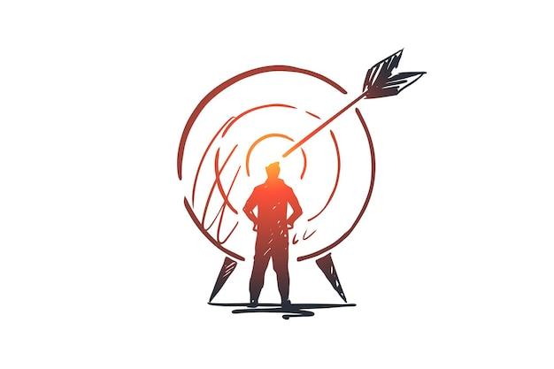 Obiettivo, successo, obiettivo, scopo, concetto di freccia. persona disegnata a mano e destinazione con schizzo di concetto di freccia.