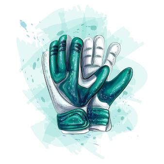Guanti da portiere. guanti da calcio su sfondo bianco. illustrazione vettoriale