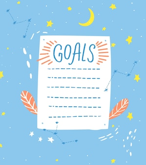 Elenco degli obiettivi, modello vuoto, stile disegnato a mano. un foglio di carta con simpatiche stelle disegnate a mano e decorazioni lunari, pagina del diario.
