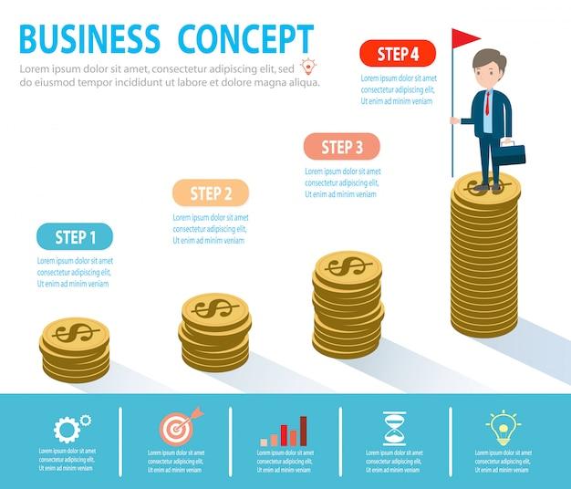 Obiettivi, successo, realizzazione e sfida persone d'affari concetto, uomo d'affari su una scala sopra le nuvole, passo dopo passo, la persona sale le scale, banner, diagramma, web design, infografica