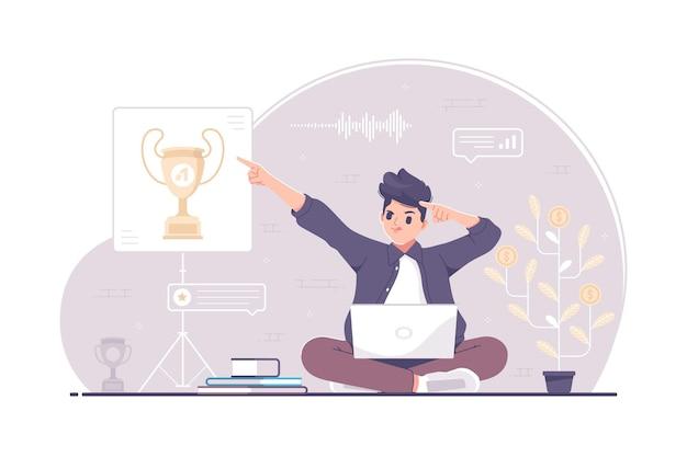 Obiettivi e concetto di destinazione con illustrazione di puntamento del carattere dell'uomo di affari
