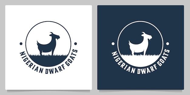 Distintivo vintage retrò di design del logo della natura di allevamento di capre