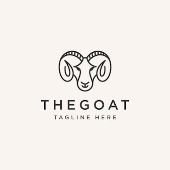 Design del logo della linea della testa di capra