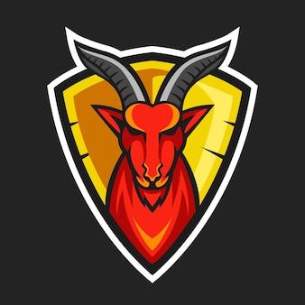 Disegno del logo della mascotte della testa di capra