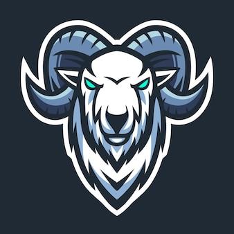 Vettore di esport del logo della mascotte della testa di capra