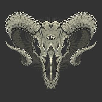 Illustrazione del baphomet del cranio della testa di capra