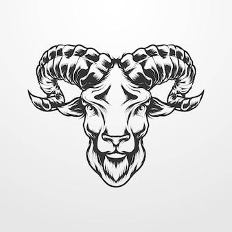 Illustrazione di vettore della testa di capra in vintage, vecchio stile monocromatico classico. adatto per t-shirt, stampe, loghi e altri prodotti di abbigliamento