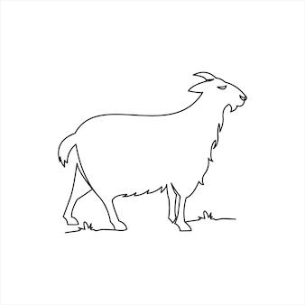 Linea di capra disegnare vettore animale da colorare