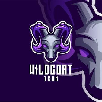 Design del logo di capra per lo sport o l'e-sport