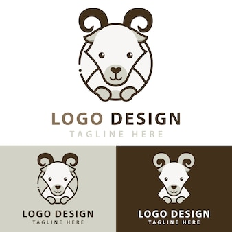 Logo design di capra Vettore Premium