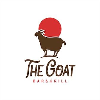Logo di capra in piedi in stile divertente di vettore del fumetto animale