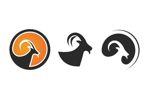 Disegno dell'illustrazione dell'icona di vettore del modello di logo della capra