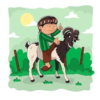 Illustrazione vettoriale di capra e uomo