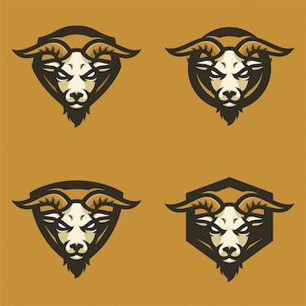 Logo sport testa mascot di capra