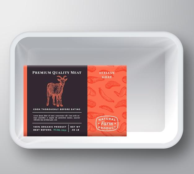 Mockup di imballaggio del contenitore del vassoio di plastica della capra
