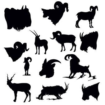 Set di silhouette di capra