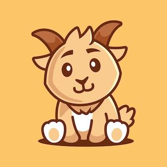 Illustrazione del personaggio dei cartoni animati di capra seduta