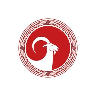 Modello di progettazione del logo animale vettoriale di capra