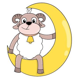 Capre e pecore sono sedute sulla luna crescente, illustrazione vettoriale. scarabocchiare icona immagine kawaii.